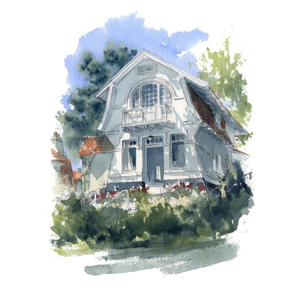 aquarelle villa mer du Nord Koksijde