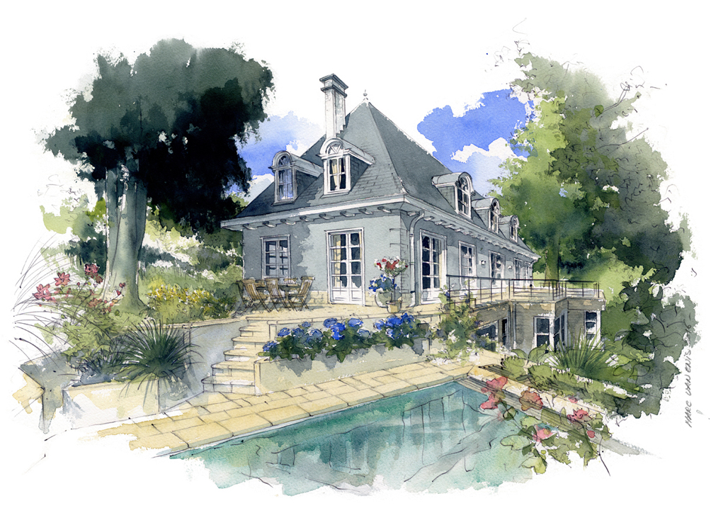 Aquarelles villas et maisons particuli res marc van enis for Piscine koksijde