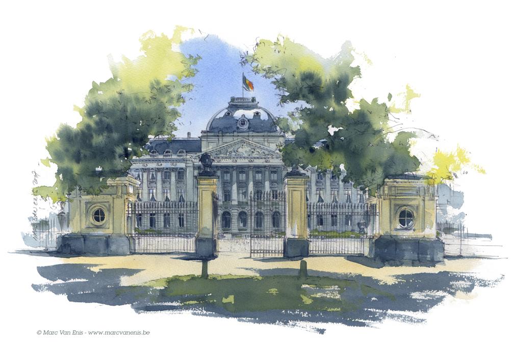 Aquarelles de Bruxelles-Le Palais royal