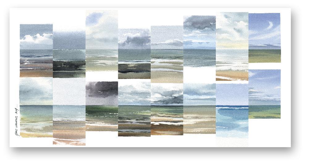 Variations d'aquarelles de la mer du Nord en Belgique