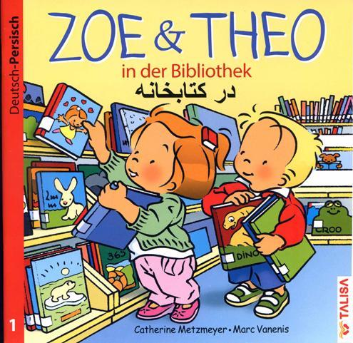 Zoe und Theo-in der Bibliothek/Deutsch-Persisch