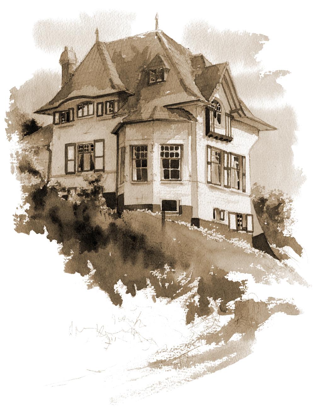 Traitement sépia carte postale d'une aquarelle d'une villa de la mer du Nord