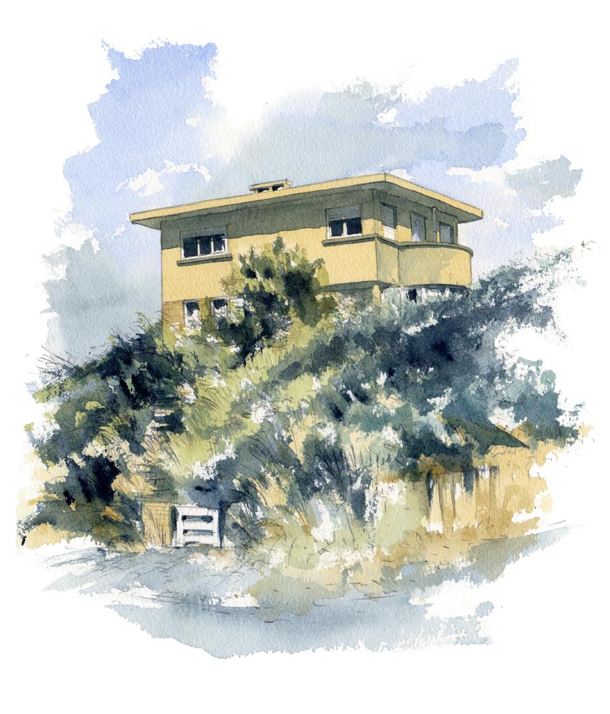 aquarelle maison style art deco mer du Nord