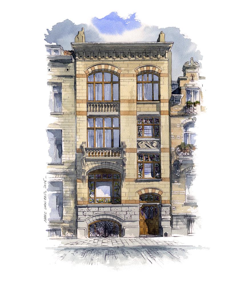 aquarelle maison style art nouveau Bruxelles