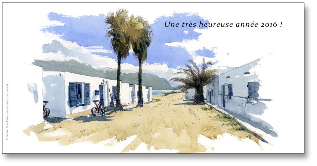 aquarelle marine à La Graciosa (Lanzarote), carte de voeux personnelle