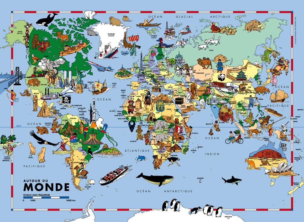 carte du monde pour enfants grand format