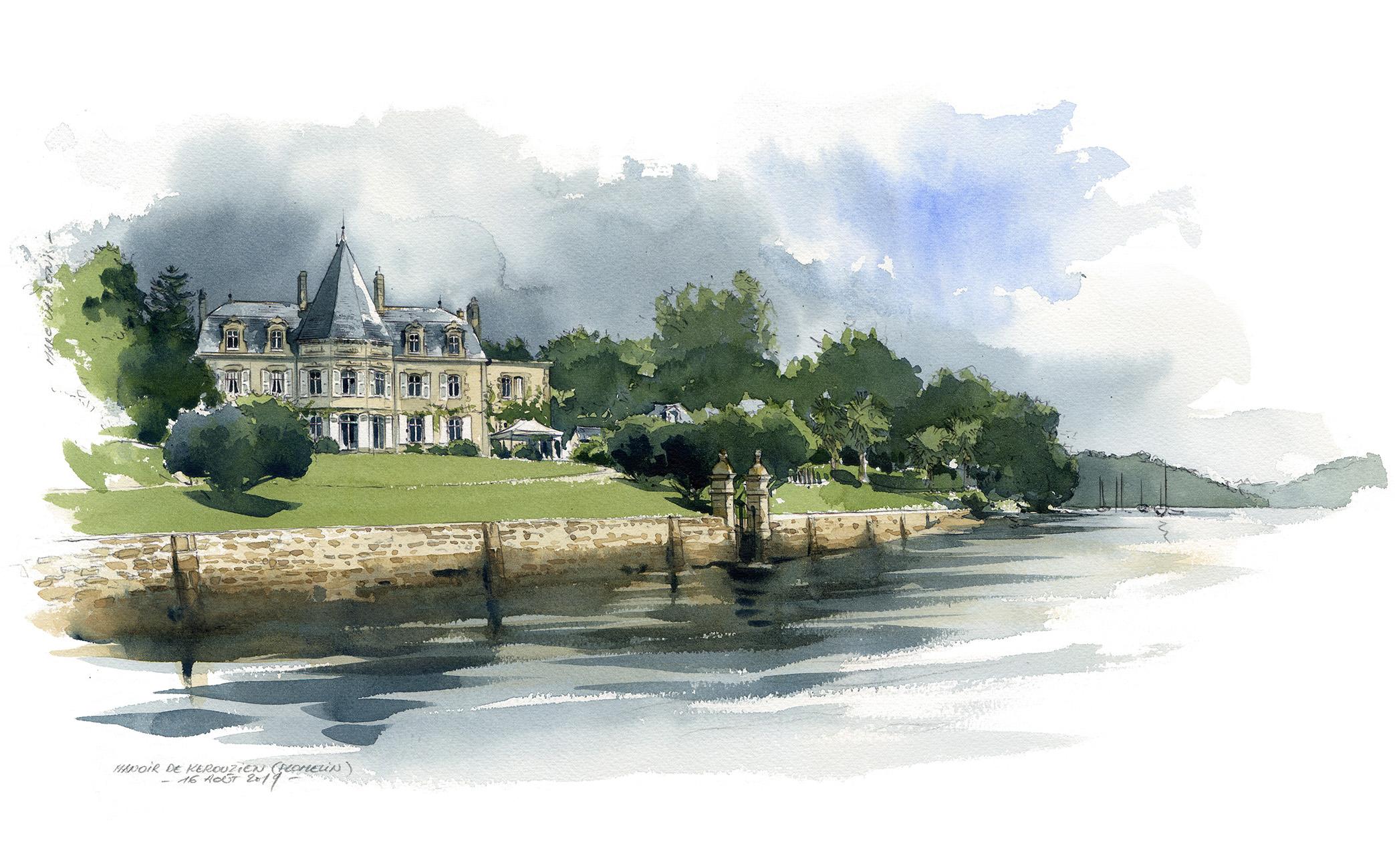Aquarelle - Le Manoir de KEROUZIEN (Finistère, Bretagne)